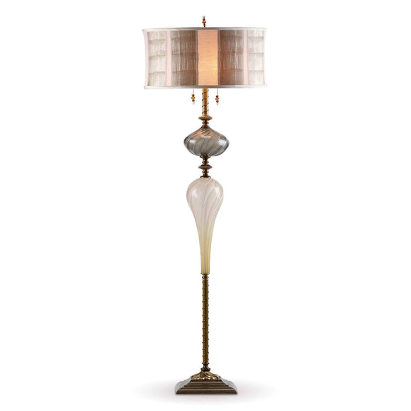 Kinzig Design Ken Floor Lamp F 166 Ag 137 Colors Cream and Gray Blown Glass Base with Gray Beige Neutral and Cream Oval Shade Artistic Artisan Designer Floor Lamps