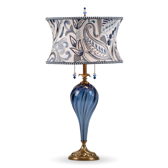 Kinzig Design Madison Table Lamp 171 K 149 Colors Blue Blown Glass Base with Blue and White Embroidered Shade Artisan Designer Table Lamps