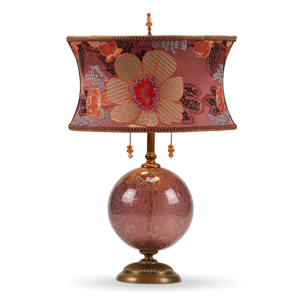 Kinzig Design Mai Table Lamp 182 K 157 Colors Aubergine Glass Base with  Floral Design Embroidered Silk Shade Artistic Artisan Designer Table Lamps