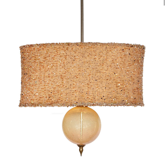 Kinzig Design Marjorie Pendant P 138 AG 86 Peach Oval Silk Shade with Woven Beaded Overlay And Creamy Blown Glass Artistic Artisan Designer Pendant Lamps