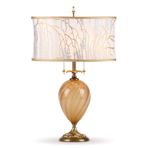 Kinzig Design Matilda Table Lamp 155 AF 133 Colors Gold Opaque Blown Glass Base With A Soft White Silk Shade Artistic Artisan Designer Table Lamps
