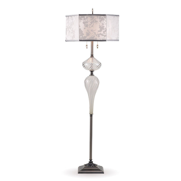 Kinzig Design Matt Floor Lamp F 183 As 154 Colors Clear and Silver Gray Blown Glass Base with White and Silver Silk Shade Artisan Designer Floor Lamps