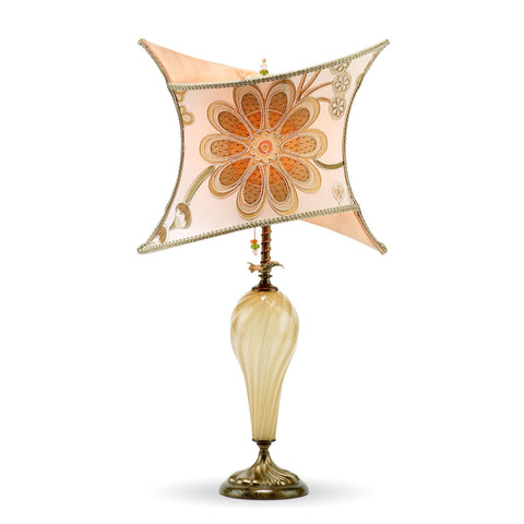 Kinzig Design Megan Table Lamp 125 Y 114 Peach Gold Cream Rust with Embroidered Silk Shade Artistic Artisan Designer Table Lamps