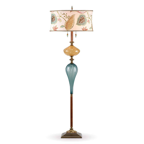 Kinzig Design Micah Floor Lamp F173 Af 147 Colors Jade and Gold Blown Glass Base with Cream Gold Pink and Green Embroidered Shade Artistic Artisan Designer Floor Lamps