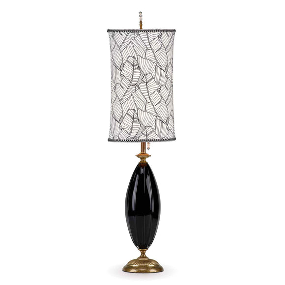 Kinzig Design Molly Table Lamp 161 Ai 150 Colors Black Blown Glass Base with Black and White Embroidered Shade Artistic Artisan Designer Table Lamps