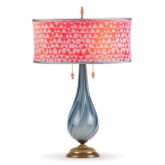 Kinzig Design Sacha Table Lamp 159 AJ 136 Colors Blue Gray Blown Glass Base With Pink Red And Coral Shade Artistic Artisan Designer Table Lamps