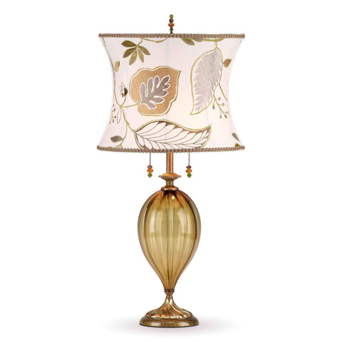 Kinzig Design Sadie Table Lamp 168 I 146 Colors Amber Glass Base with Green Amber Cream Embroidered Linen Shade Artistic Artisan Designer Table Lamps