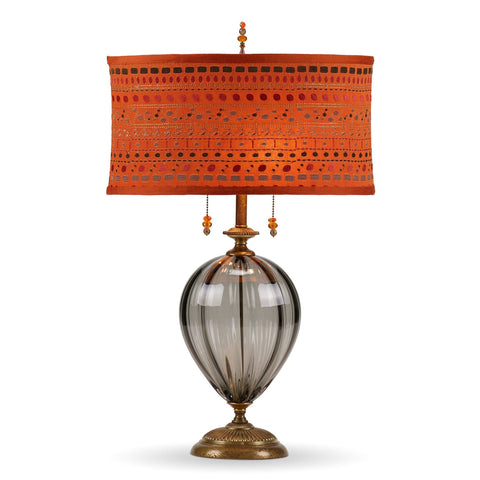 Kinzig Design Samantha Table Lamp 175 Af 156 Colors Gray Blown Glass Base with Embroidered Orange Silk Shade Artistic Artisan Designer Table Lamps