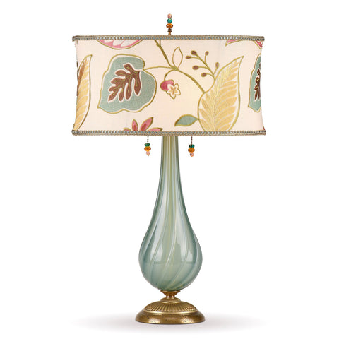 Kinzig Design Savannah Table Lamp 169 Af 147 Colors Grey Green Blue Blown Glass Base with Cream Gold Pink Embroidered Oval Shade Artistic Artisan Designer Table Lamps
