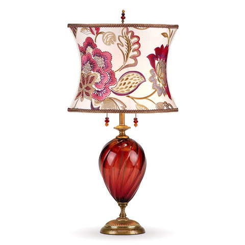 Kinzig Design Scarlett Table Lamp 170 I 148 Colors Red Blown Glass Base with White Scarlett Pink Gold and Purple Embroidered Shade Artistic Artisan Designer Table Lamps