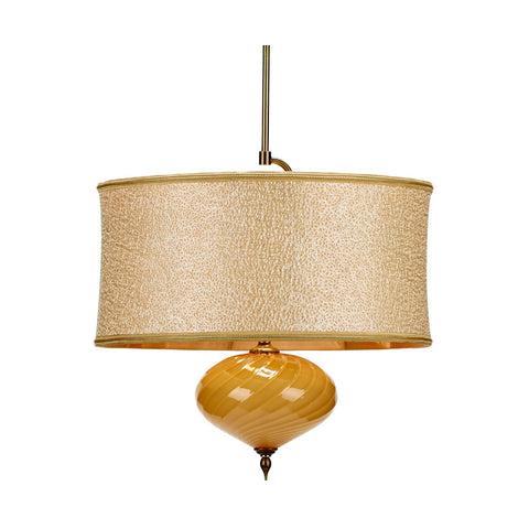 Kinzig Design Sofia P 139 AP 123 Pendant Creamy Woven Shade with Caramel Gold Blown Glass Artistic Artisan Designer Pendant Lamps