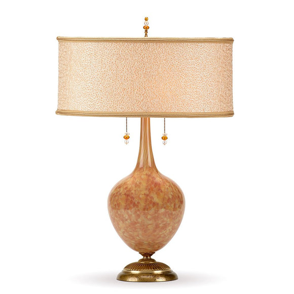 Kinzig Design Stephanie Table Lamp 152 AJ 123 Colors Soft Golden Colors Base with Textured Woven Fabric Over Gold Shade Artistic Artisan Designer Table Lamps