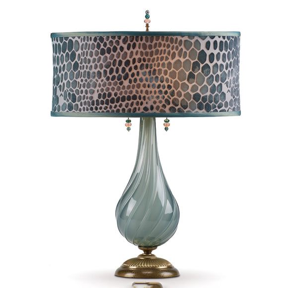 Kinzig Design Angela Table Lamp 168 AJ 144 Soft Grey Green Blown Glass with Jade Green Hand Painted Fabric Artistic Artisan Designer Table Lamps