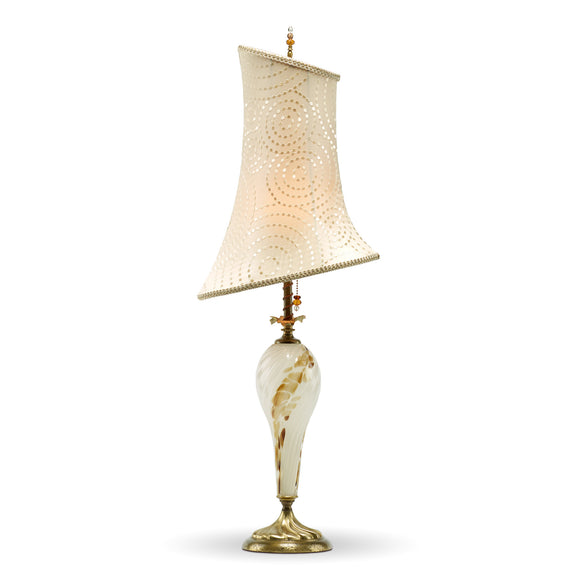 Mackenzie Table Lamp 2H68, Kinzig Design, Colors Cream Gold and Brown Blown Glass, Silk Shade, Artistic Artisan Designer Table Lamps
