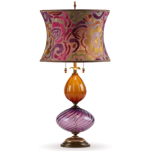 Kinzig Design Natasha Table Lamp 170 I 141 Purple and Copper Blown Glass Base with Magenta and Purple Shade Artistic Arisan Designer Table Lamps