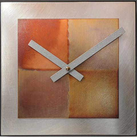 Leonie Lacouette 8x8 Square Steel with Copper Wall Clock Artistic Artisan Designer Clocks