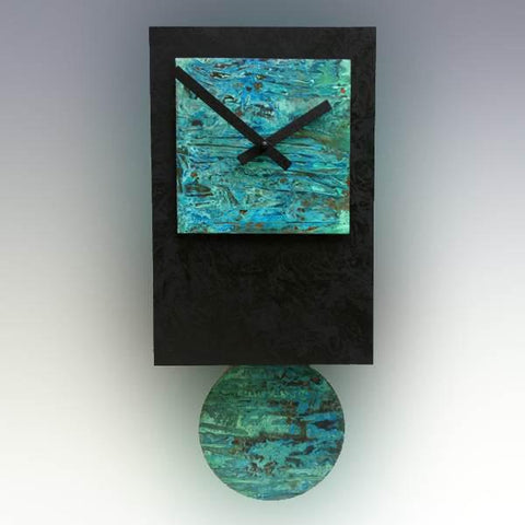 Leonie Lacouette Black Tie Pendulum Wall Clock in Wood and Hand Patinated Verdigris Copper Artistic Artisan Designer Wall Clocks