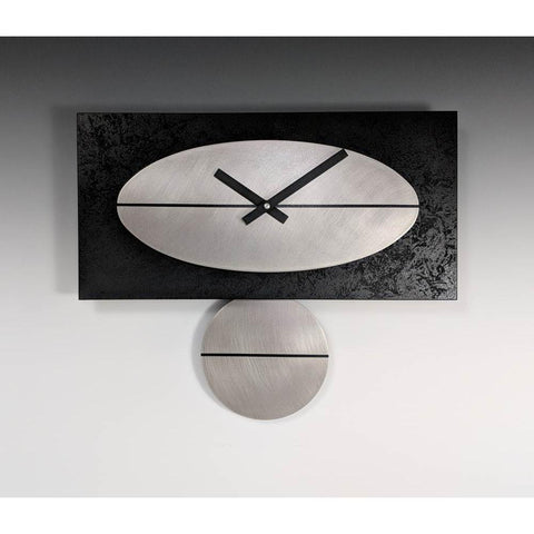 Leonie Lacouette Black and Steel Pendulum Wall Clock 16 in Painted Wood and Stainless Steel Artistic Artisan Designer Wall Clocks