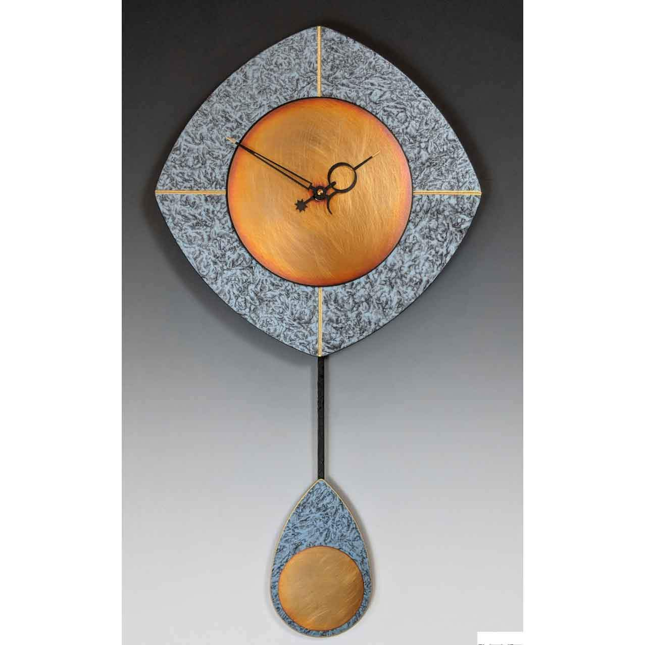 Leonie Lacouette Blue L Drop Pendulum Wall Clock Artistic Wall Clocks Sweetheart Gallery Contemporary Craft Gallery Fine American Craft Art Design Handmade Home Personal Accessories