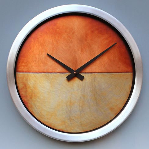 Leonie Lacouette Copper and Brushed Aluminum Nate Wall Clock Artistic Artisan Designer Clocks