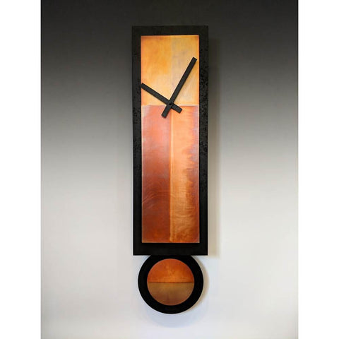 Leonie Lacouette GG Ginger Pendulum Clock in Hand-patinated Copper and Black Painted Wood Artistic Artisan Designer Wall Clocks
