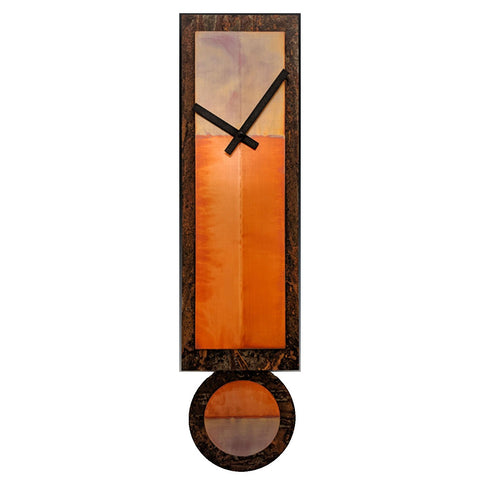 Leonie Lacouette Ginger Copper and Rusted Steel Pendulum Wall Clock Artistic Artisan Designer Clocks