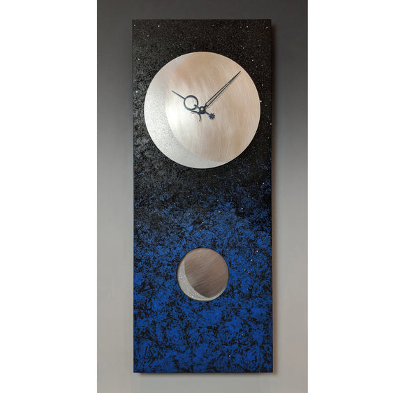 Leonie Lacouette Moon At Night Pendulum Wall Clock 24 in Hand Painted Wood and Textured Stainless Steel Artistic Artisan Designer Wall Clocks