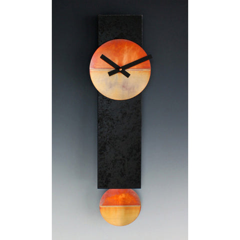 Leonie Lacouette Narrow Black and Copper Pendulum Clock, Artistic Artisan Designer Clocks