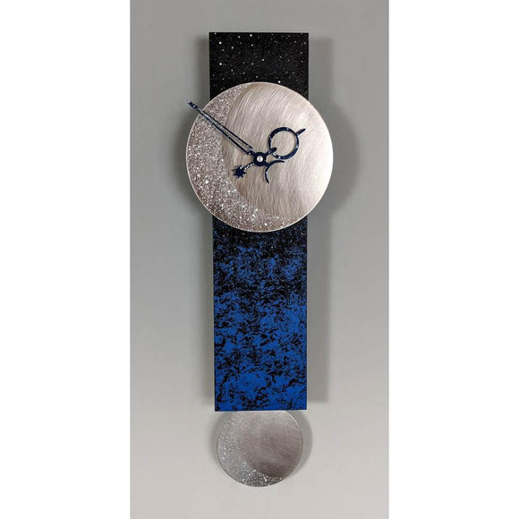 Leonie Lacouette Narrow Moon Pendulum Wall Clock in Hand Painted Wood and Textured Stainless Steel Artistic Artisan Designer Wall Clocks