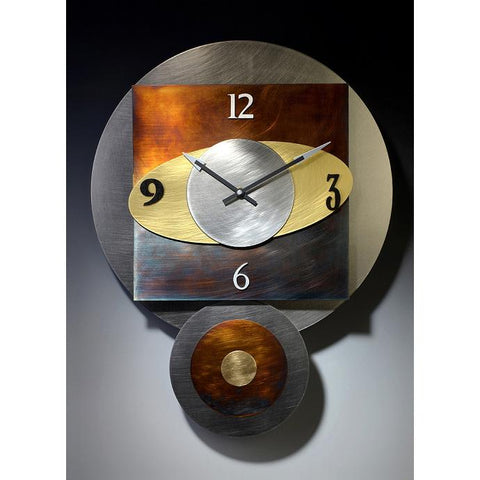 Leonie Lacouette Orbit Pendulum Wall Clock in Textured Stainless Steel Brass and and Hand Patinated Nickel Silver Artistic Artisan Designer Wall Clocks