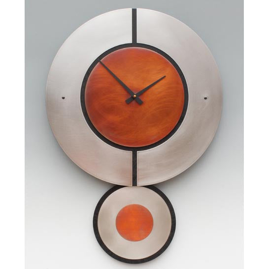Leonie Lacouette Stainless Steel Black Wood and Copper Zaki Pendulum Clock, Artistic Artisan Designer Clocks