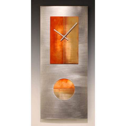 Leonie Lacouette Steel and Copper 24 Pendulum Clock, Artistic Artisan Designer Clocks