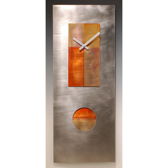 Leonie Lacouette Steel and Copper 30 Pendulum Clock, Artistic Artisan Designer Clocks