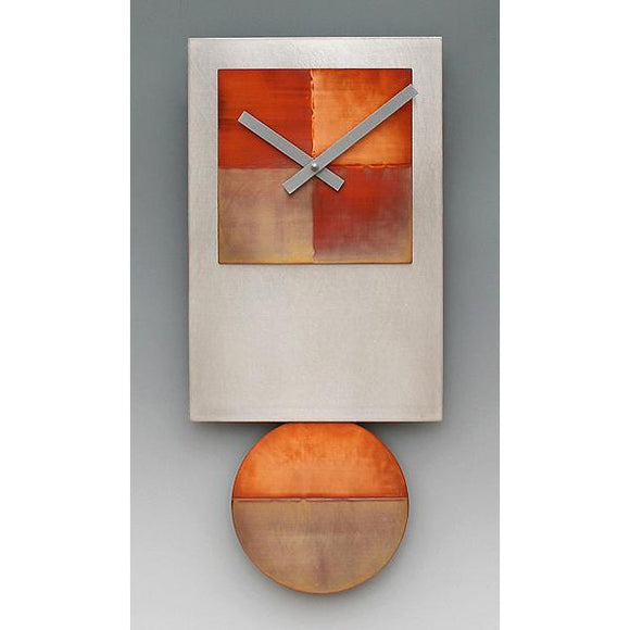 Leonie Lacouette Tie Pendulum Wall Clock in Stainless Steel and Hand Colored Copper Artistic Artisan Designer Wall Clocks