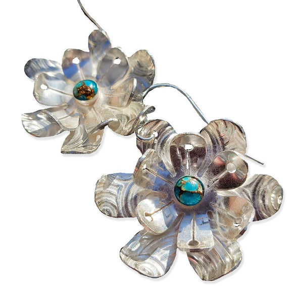 Leotie Earrings E3T1C Sterling Silver and Gemstone by Silver Garden Designs Artistic Artisan Designer Jewelry