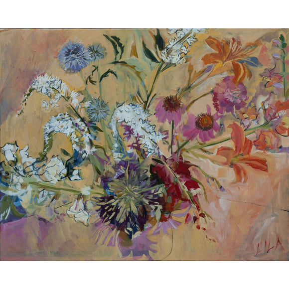 Lila Bacon Floral Painting on Canvas July In Our Garden c-lb149
