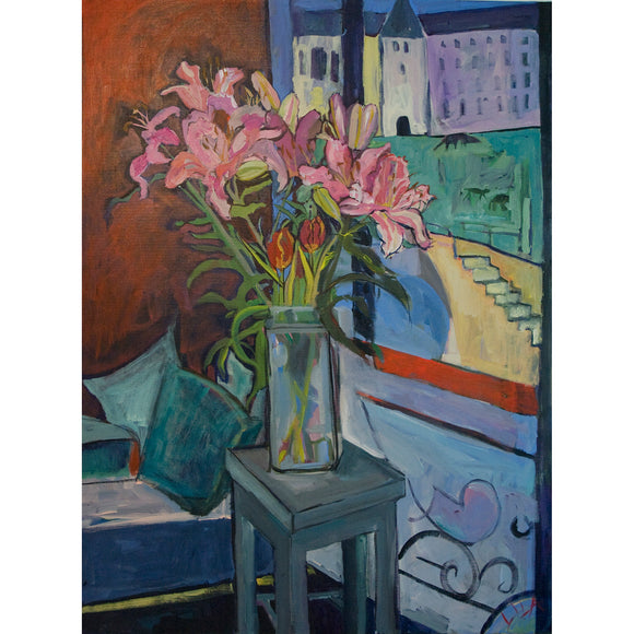 Lila Bacon Floral Painting on Canvas Lilies A La Matisse c-lb62
