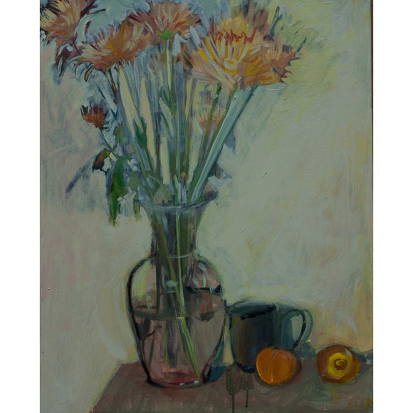 Lila Bacon Floral Painting on Canvas Mums Cup Orange and Lemon c-lb134