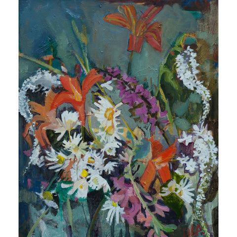 Lila Bacon Floral Painting on Canvas Our Garden in July c-lb150
