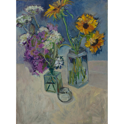 Lila Bacon Floral Painting on Canvas Phlox and Sunflowers c-lb138