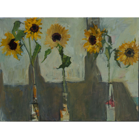 Lila Bacon Floral Painting on Canvas Sunflowers c-lb161