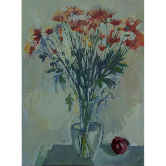 Lila Bacon Floral Painting on Canvas Mums and Apple c-lb133
