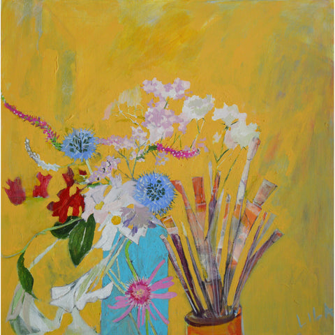 Lila Bacon Floral Painting on Canvas Yellow 2019 24x24 c-lb316