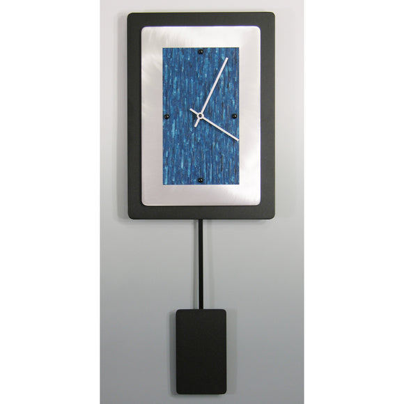 Linda Lamore Black Powder Coated and Brushed Aluminum Pendulum Clock 2AM1014P, Artistic Artisan Designer Pendulum Clocks