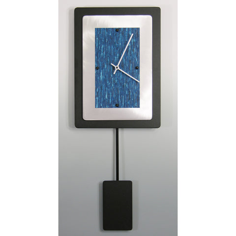 Black Powder Coated and Brushed Aluminum Pendulum Clock 2AM1014P by Linda Lamore