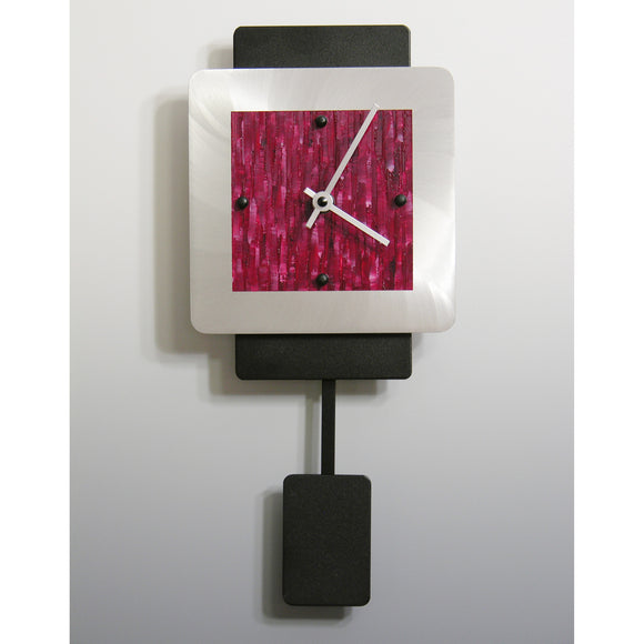 Linda Lamore Black Powder Coated and Brushed Aluminum Pendulum Clock 2AM68P, Artistic Artisan Designer Pendulum Clocks
