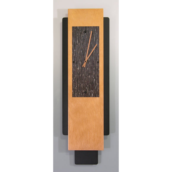 Linda Lamore Copper and Black Powder Coated Aluminum Pendulum Clock 2M824P, Artistic Artisan Designer Pendulum Clocks