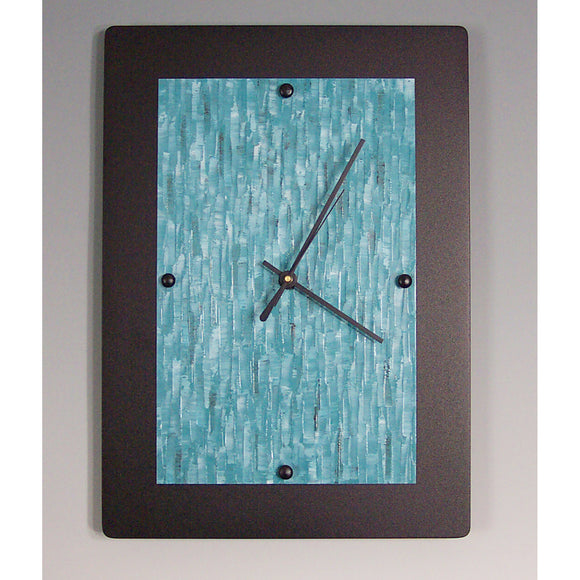 Linda Lamore Black Powder Coated Aluminum Clock B1014, Artistic Artisan Designer Clocks