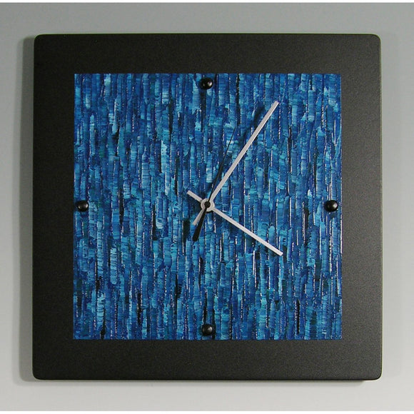 Black Powder Coated Aluminum Clock B1212 by Linda Lamore