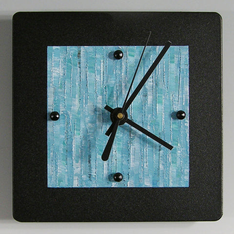 Black Powder Coated Aluminum Clock B66 by Linda Lamore